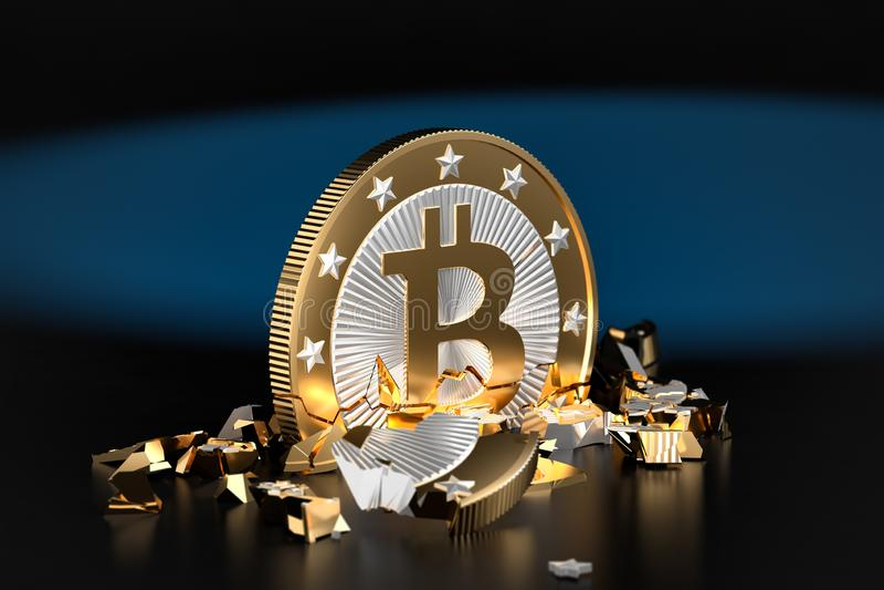 Verbrijzelde Bitcoin stock foto's