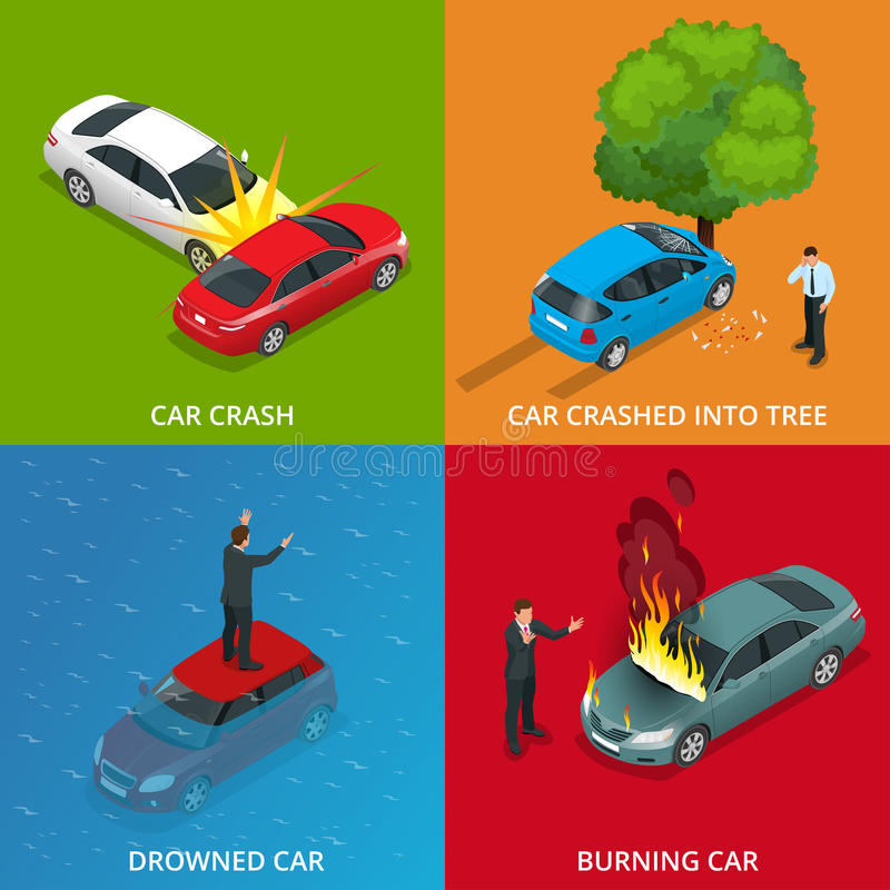 Verbrijzelingsauto, verdronken auto, brandende die auto, auto in boom wordt verpletterd Het ongeval van het verkeer royalty-vrije illustratie