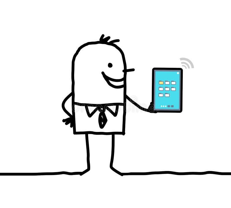 Verbundene digitale Tablette des Karikaturgeschäftsmannes Holding lizenzfreie abbildung