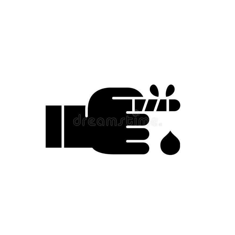 Verbundene Fingerschwarzikone, Vektorzeichen auf lokalisiertem Hintergrund Verbundenes Fingerkonzeptsymbol, Illustration lizenzfreie abbildung