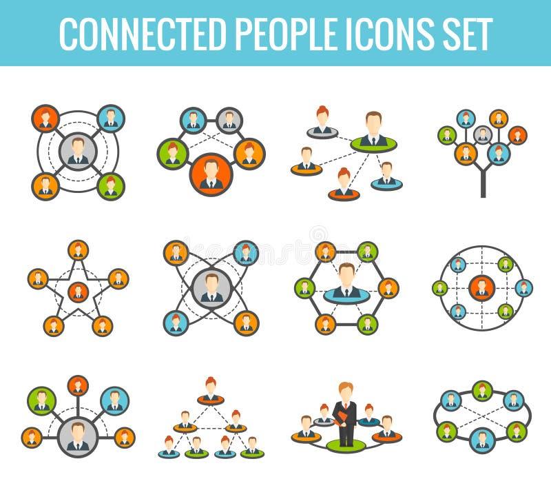 Verbundene flache Ikonen der Leute eingestellt vektor abbildung