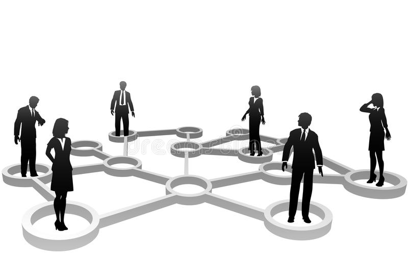 Verbundene Geschäftsleute im Netz stock abbildung