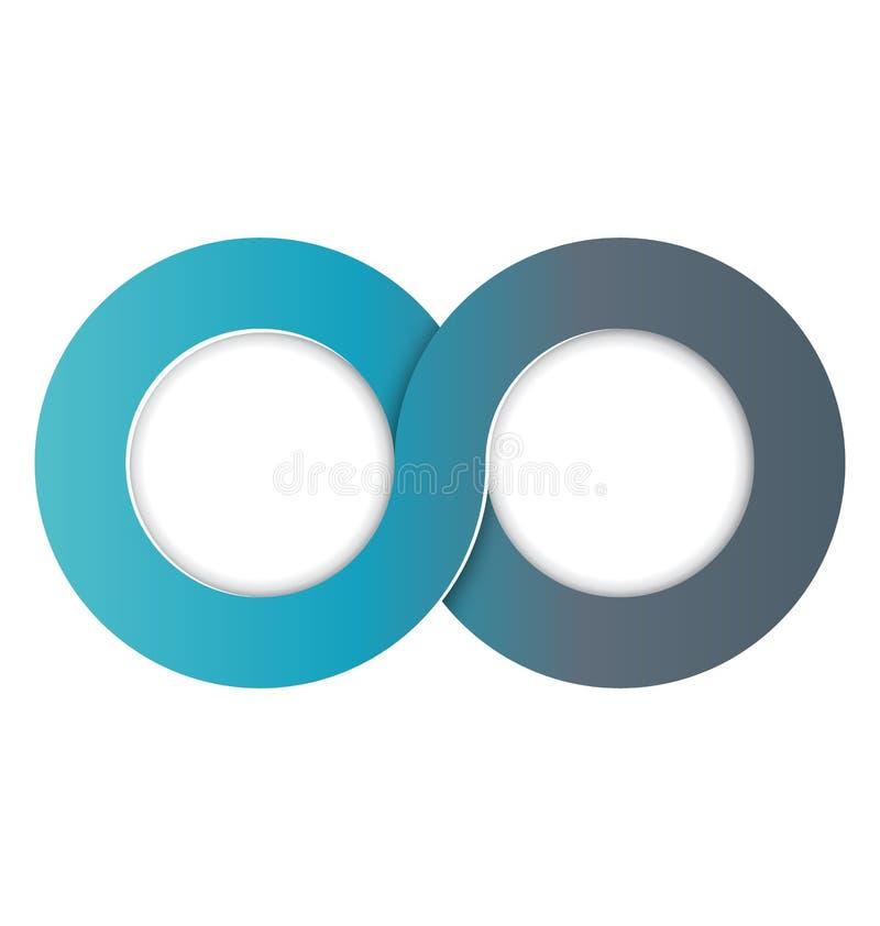 Verbundene Kreise Infographic-Element-zwei lokalisiert auf Weiß stock abbildung