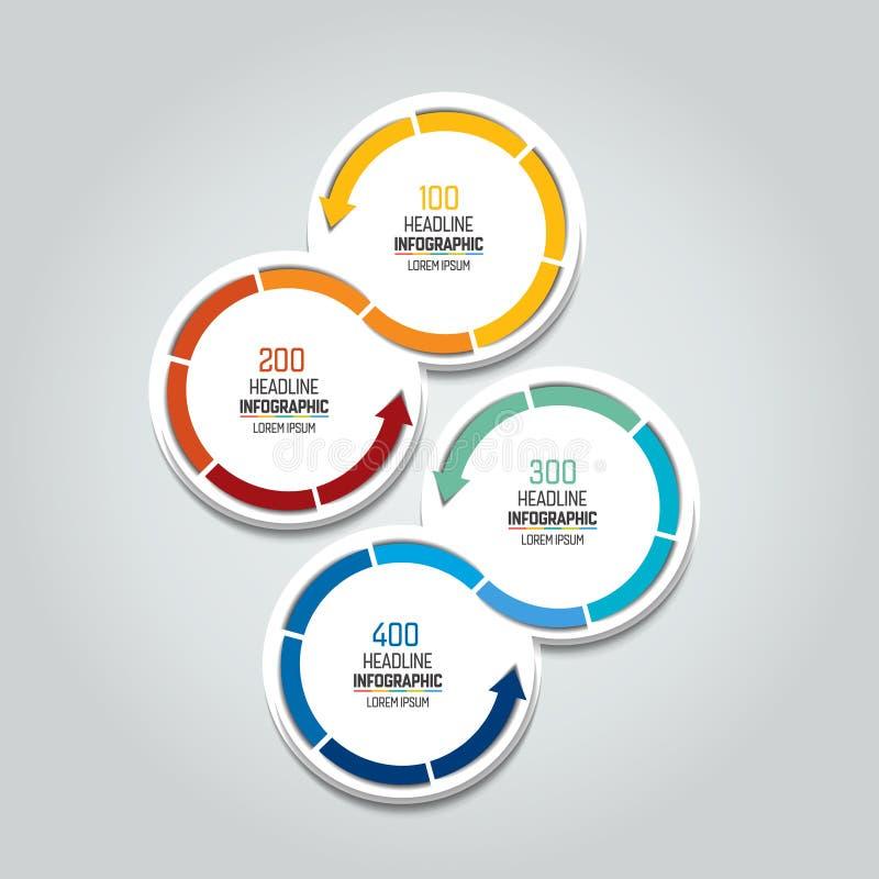 4 verbundene Pfeilkreise Infographic Element stock abbildung