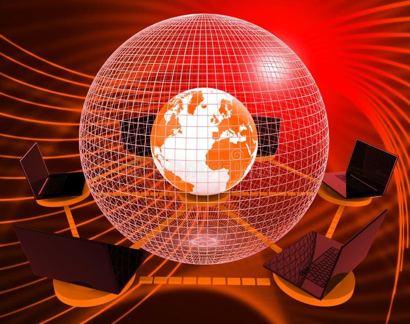 Verbundene Wiedergabe des Kugel-Welttechnologie-Link-3d vektor abbildung