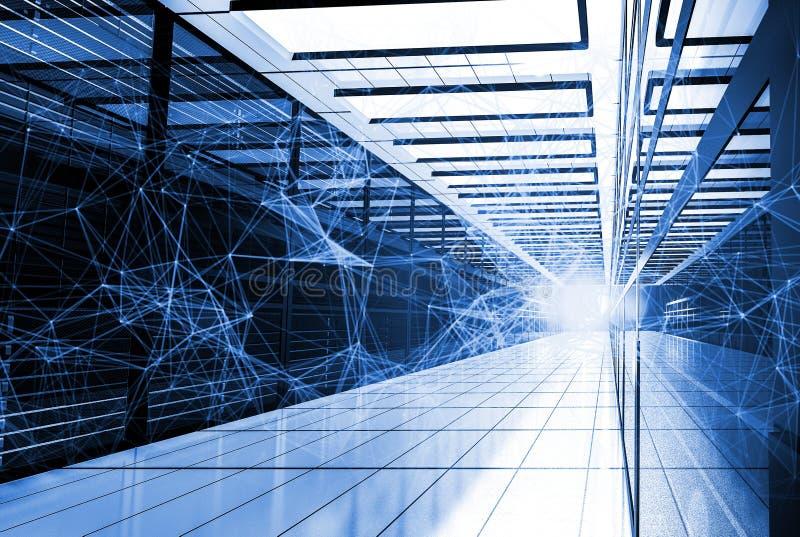Verbundener geometrischer Hintergrund des Polygonplexus mit spritzt vom Licht Digital-Daten-Sichtbarmachung Abstrakte Wiedergabe  stock abbildung