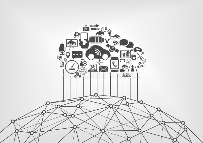 Verbundenes Auto und Internet des infographic Konzeptes der Sachen Driverless Autos angeschlossen an das World Wide Web stock abbildung