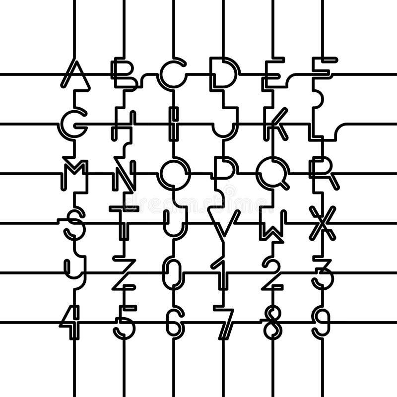 Verbundenes lateinisches Alphabet stellte ein Kappen und Zahlen stock abbildung
