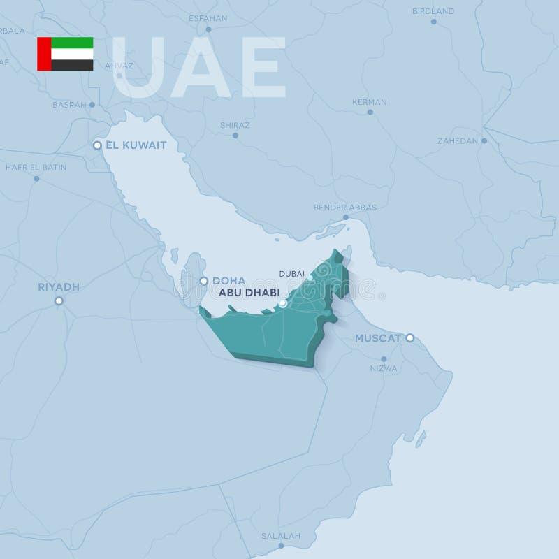 Verctor översikt av städer och vägar i Förenade Arabemiraten stock illustrationer