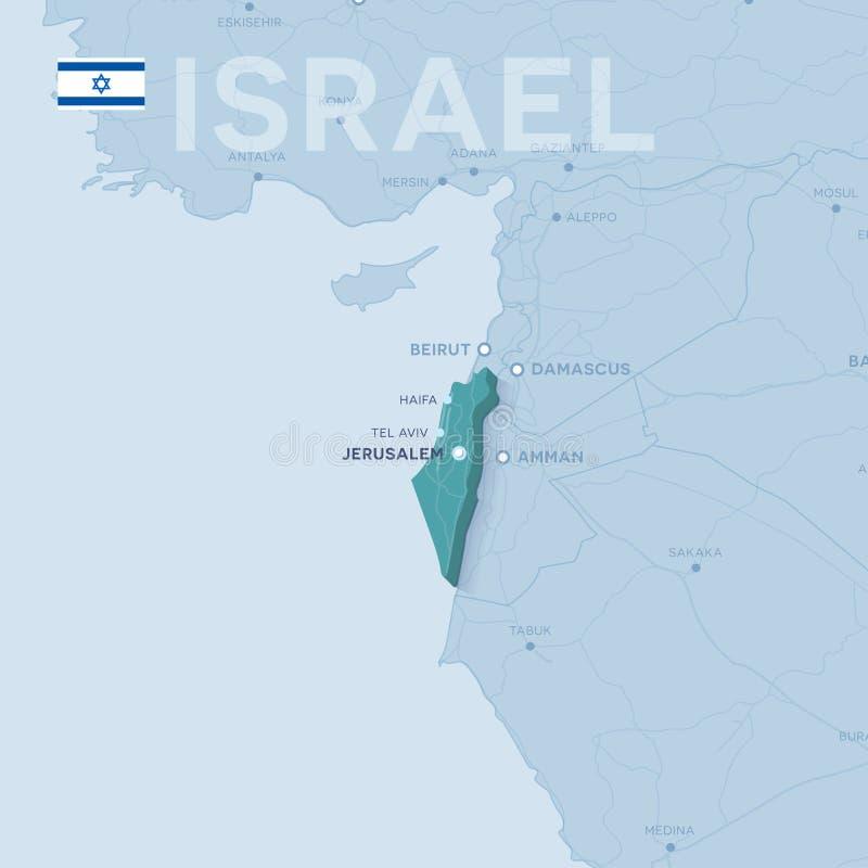 Verctor översikt av städer och vägar i Israel vektor illustrationer