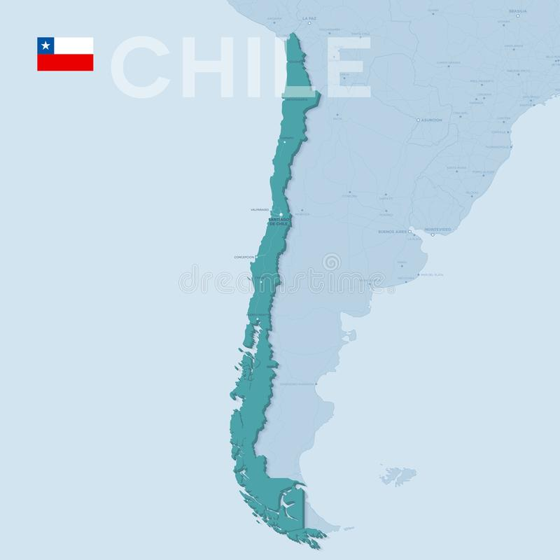 Verctor Map of cities and roads in Chile. 3d verctor map of cities and roads in South America. Chile and its neighbors stock illustration