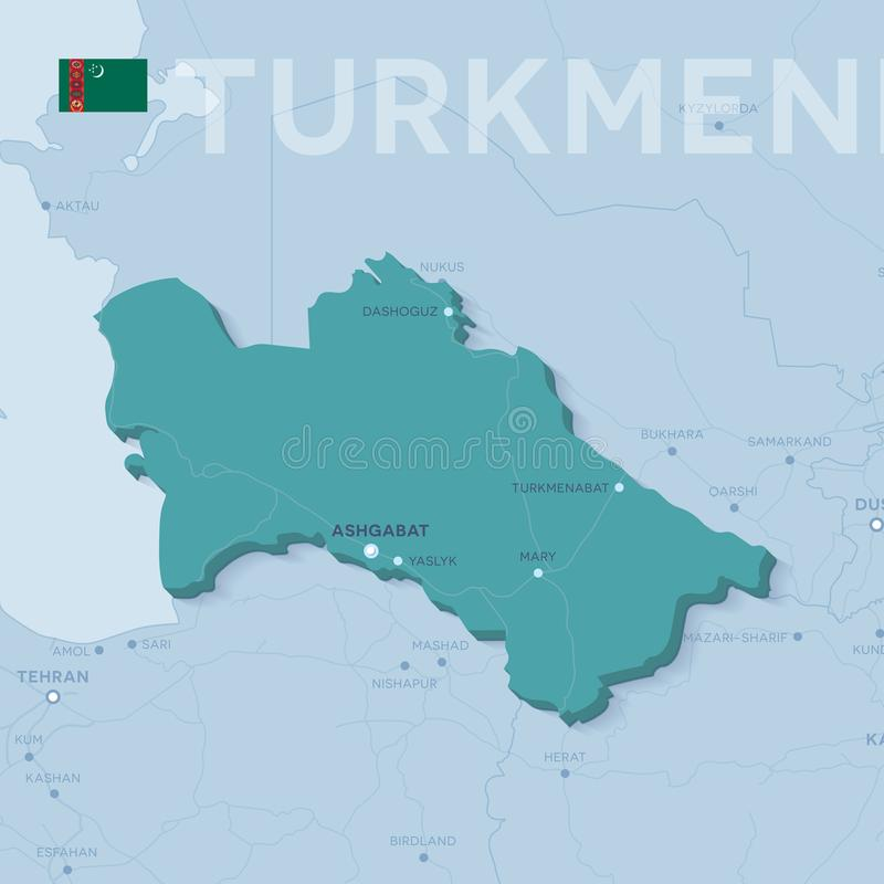Verctor mapa miasta i drogi w Turkmenistan ilustracja wektor