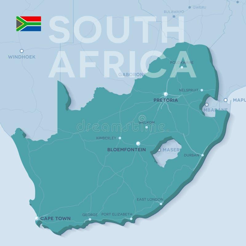 Verctorkaart van steden en wegen in Zuid-Afrika vector illustratie