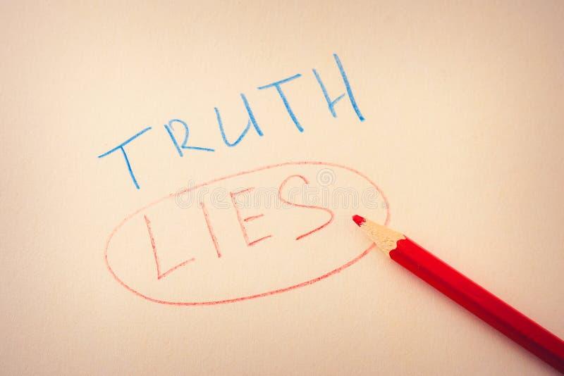 Verdad de la palabra y mentiras subrayadas de la palabra imágenes de archivo libres de regalías