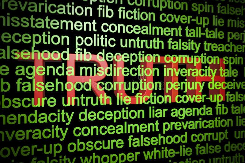 Verdad detrás de las mentiras ilustración del vector