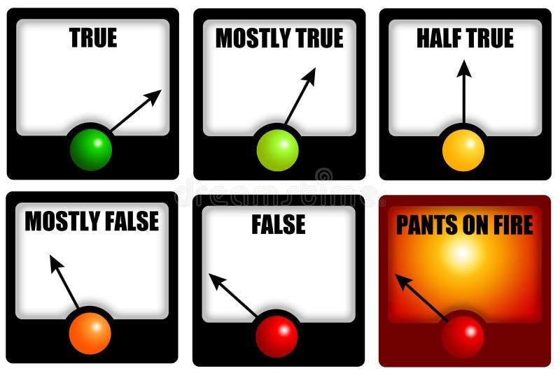 Verdad y mentiras ilustración del vector