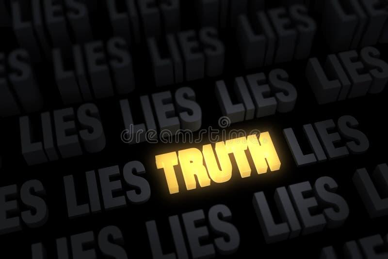 Verdade de incandescência, mentiras escuras ilustração do vetor