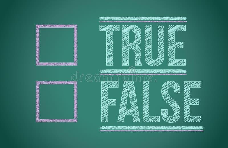 Verdadeiro ou falso com caixas de seleção ilustração stock