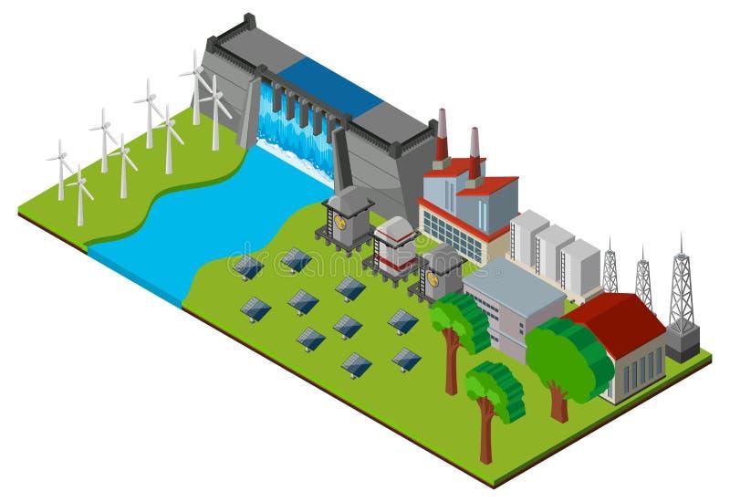 Verdammung und Kraftwerk im Design 3D stock abbildung