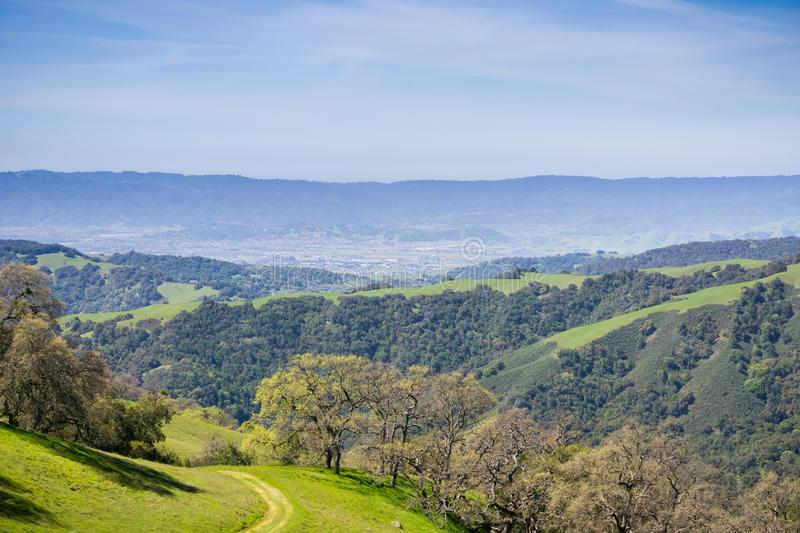 Verdant hills and valleys in Henry W. Coe State Park ,view towards Morgan Hill and San Martin, California stock images
