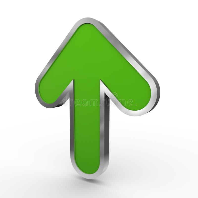 verde 3d encima de la flecha stock de ilustración