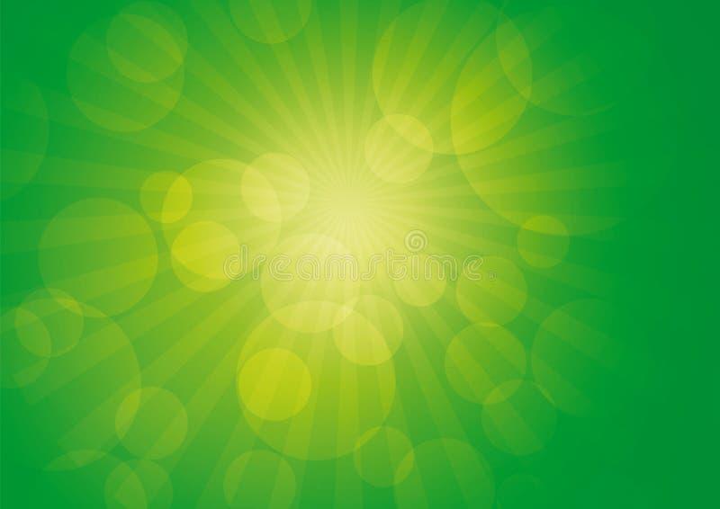 Verde abstracto 2 de los rayos ilustración del vector