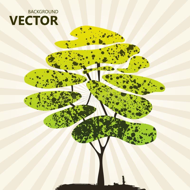 Verde abstracto del fondo del árbol del color stock de ilustración