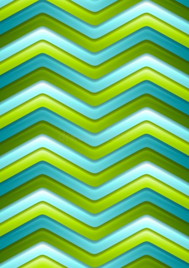 Verde abstrato e listras curvadas turquesa ilustração stock
