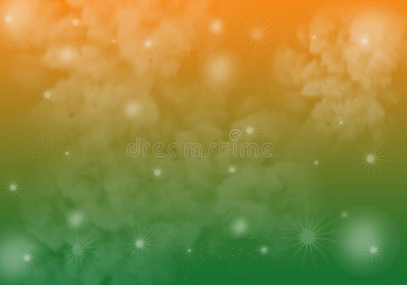 Verde amarelo Smokey Background da laranja com estrela dos Sparkles ilustração stock