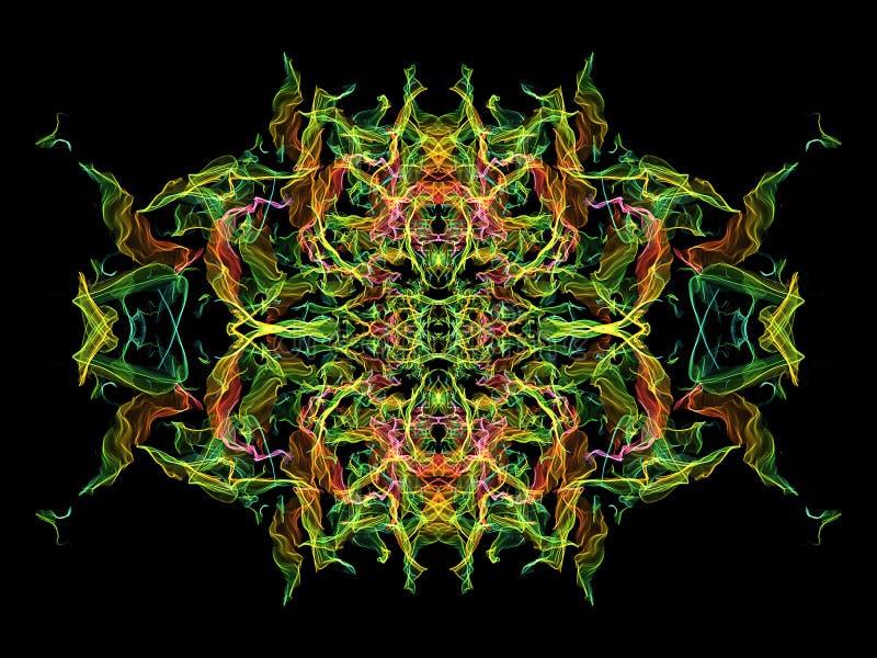 Verde, amarillo, rosa y modelo caleidoscópico de la llama azul del extracto en fondo negro stock de ilustración