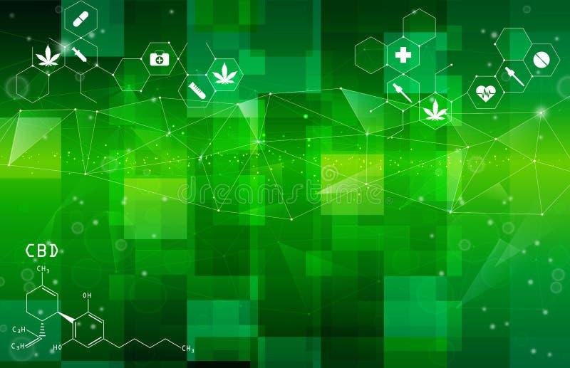 Verde astratto, progettazione del fondo medico illustrazione vettoriale