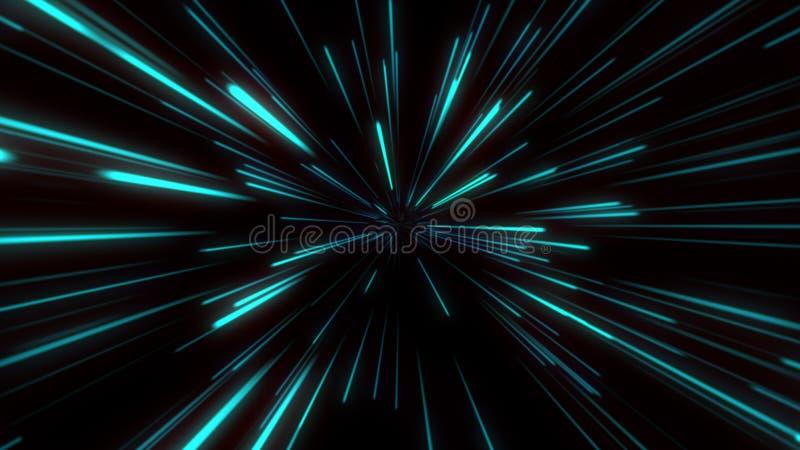 Verde azul del túnel de la velocidad de Starburst del fondo de la dinámica del concepto ligero abstracto de la tecnología stock de ilustración