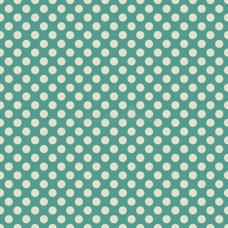 Verde azul retro y beige ligero o del diseño blanco del modelo del fondo del papel pintado del lunar stock de ilustración