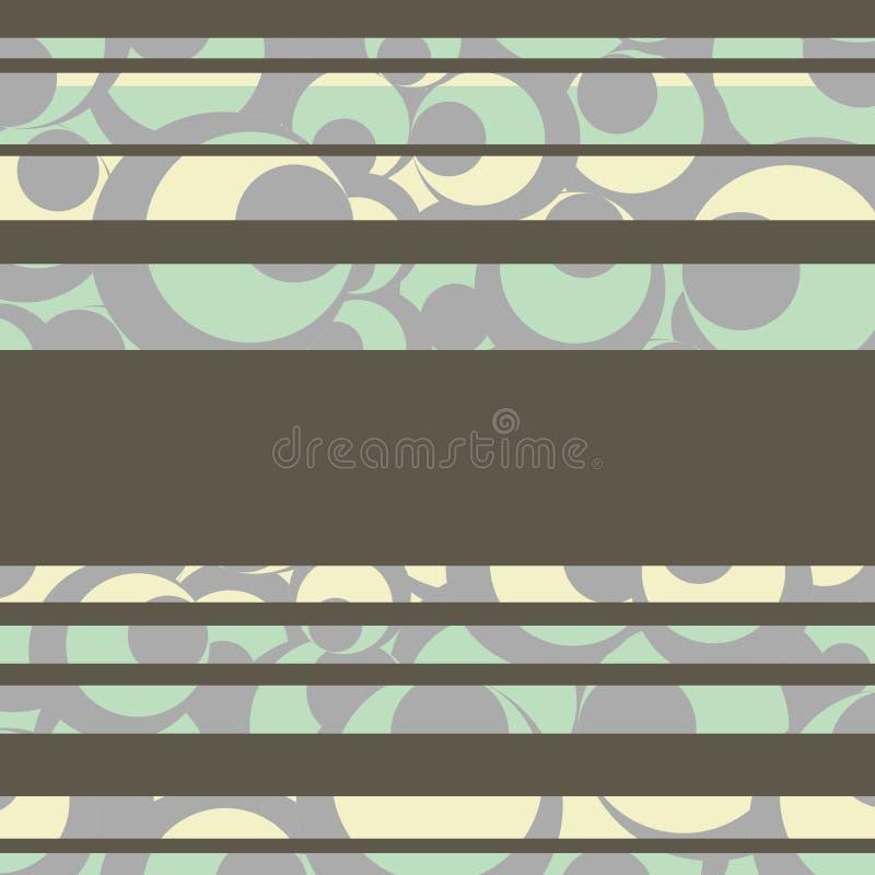 Verde blu e cerchi crema con il modello del fondo delle bande di grey royalty illustrazione gratis
