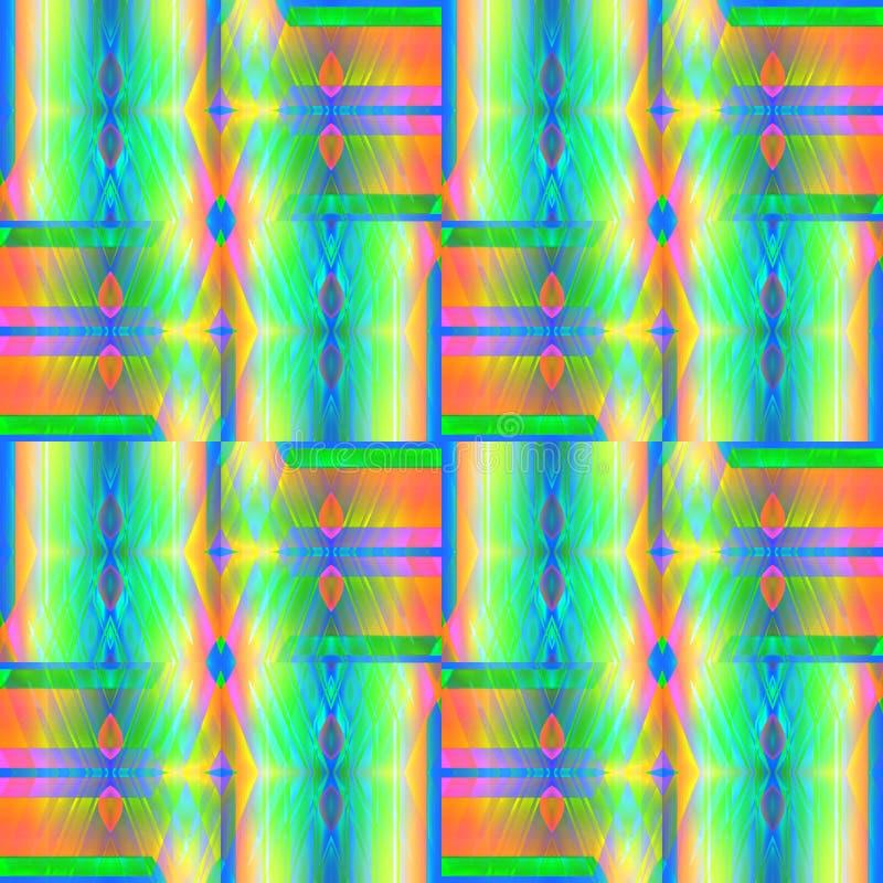 Verde blu viola giallo arancione del modello complesso regolare del diamante illustrazione vettoriale