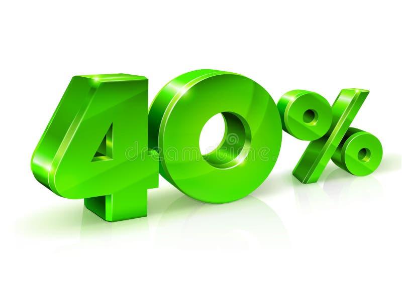 Verde brillante 40 el cuarenta por ciento apagado, venta Aislado en el fondo blanco, objeto 3D stock de ilustración