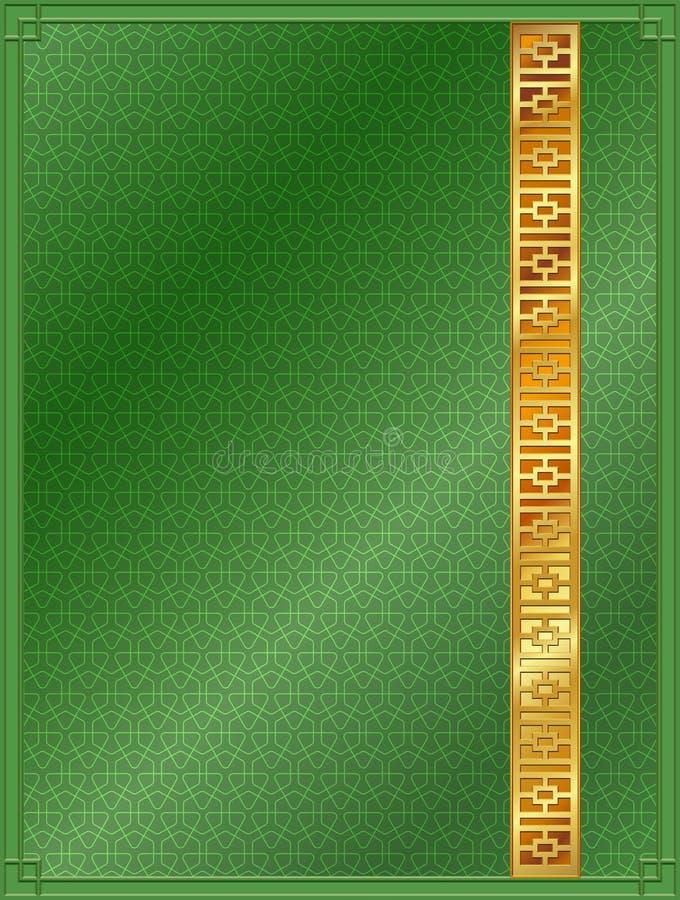 Verde chino y oro del modelo del fondo del modelo fotos de archivo