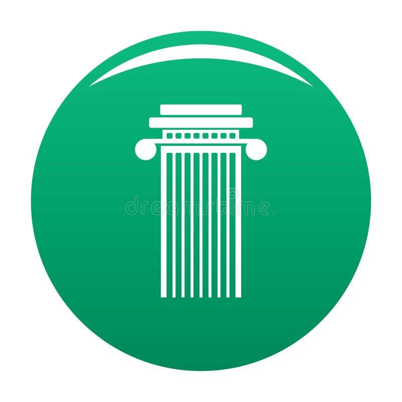 Verde cilíndrico do vetor do ícone da coluna ilustração stock