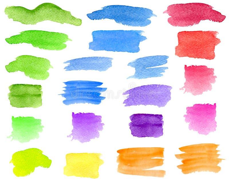 Verde da aquarela, cursos azuis, vermelhos, amarelos da escova, grupo das manchas Listras tiradas mão e manchas coloridas do aqua imagens de stock