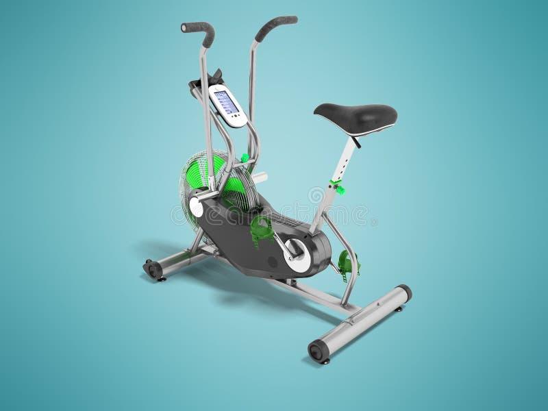 Verde da bicicleta de exercício metálico com perspectiva verde 3d inserir com referência a ilustração stock