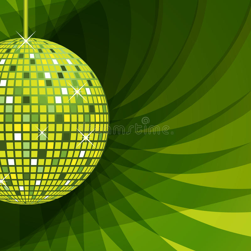 Verde da esfera do disco no fundo abstrato ilustração do vetor