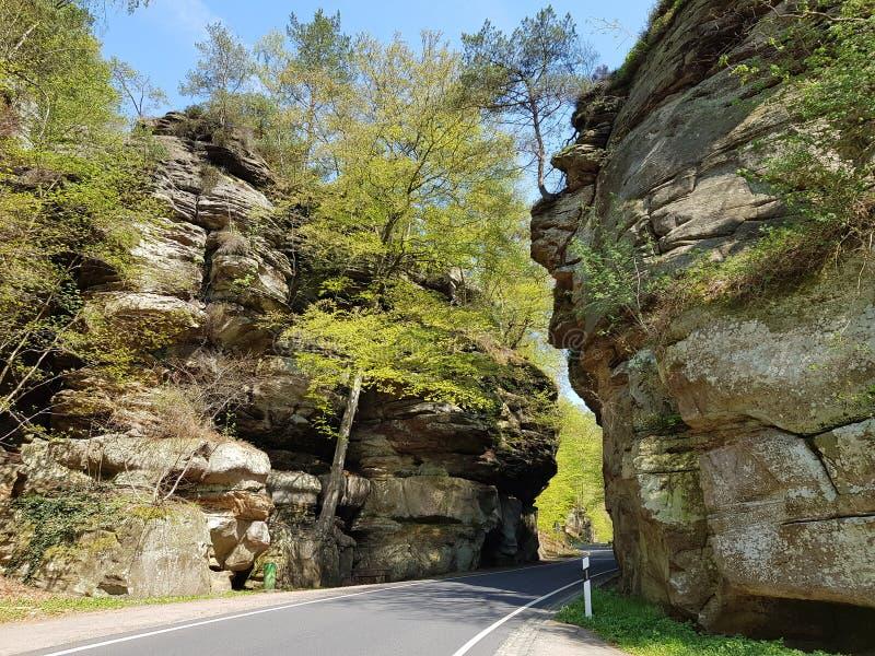 Verde da natureza da rocha e da estrada vivo imagem de stock royalty free