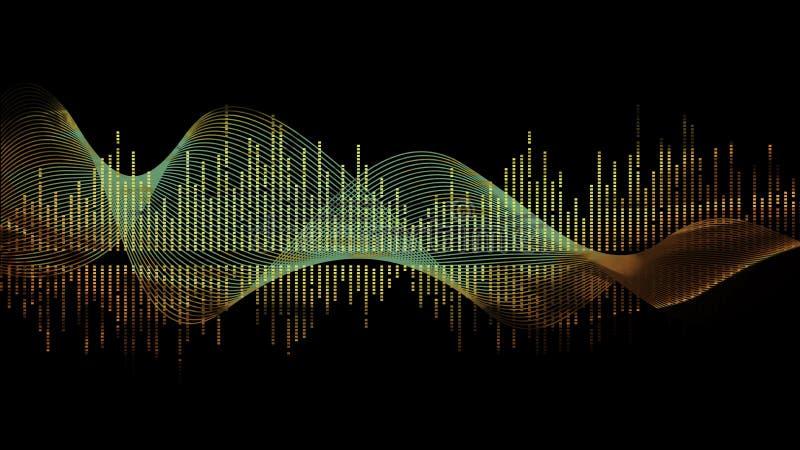 Verde da onda da música ilustração do vetor