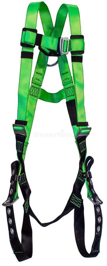 Verde da proteção da queda do chicote de fios de segurança no fundo branco foto de stock