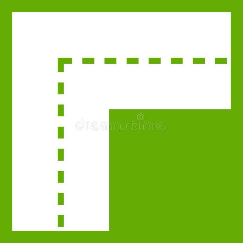Verde de giro do ícone da estrada ilustração do vetor