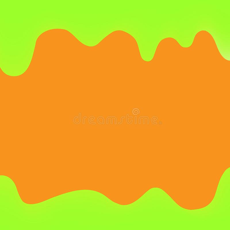 Verde de gotejamento e laranja da pintura da bandeira para o fundo colorido, beira dos gotejamentos da aquarela, quadro verde de  ilustração stock