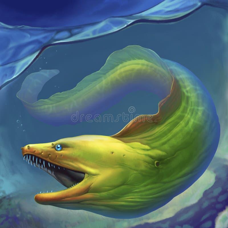 Verde de la anguila de Moray Anguila de moray verde grande con la boca abierta libre illustration