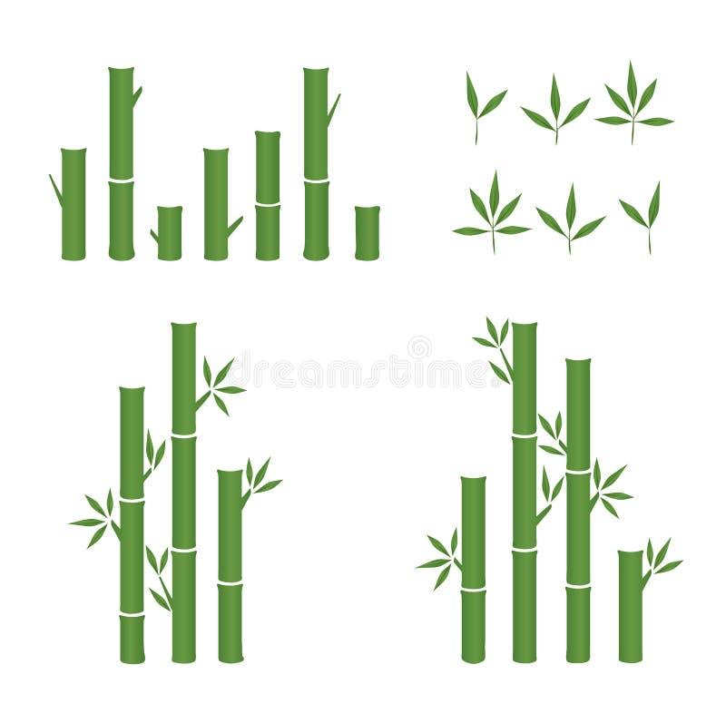 Verde de la hoja del vector y sistema del icono del brote de bambú stock de ilustración