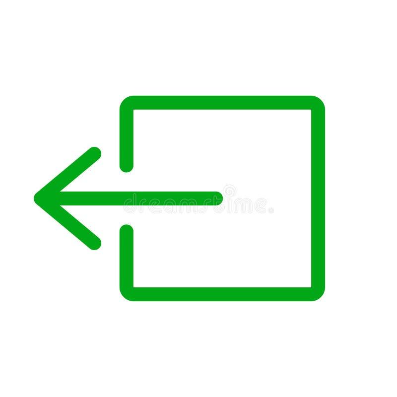 Verde de la muestra de la salida de emergencia en el fondo blanco ilustración del vector
