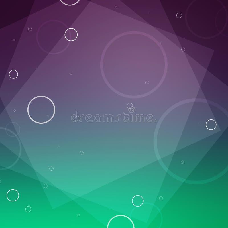 Verde de la pendiente del extracto y fondo borroso púrpura del vino oscuro con capas de cuadrados y de círculos en una plantilla  ilustración del vector